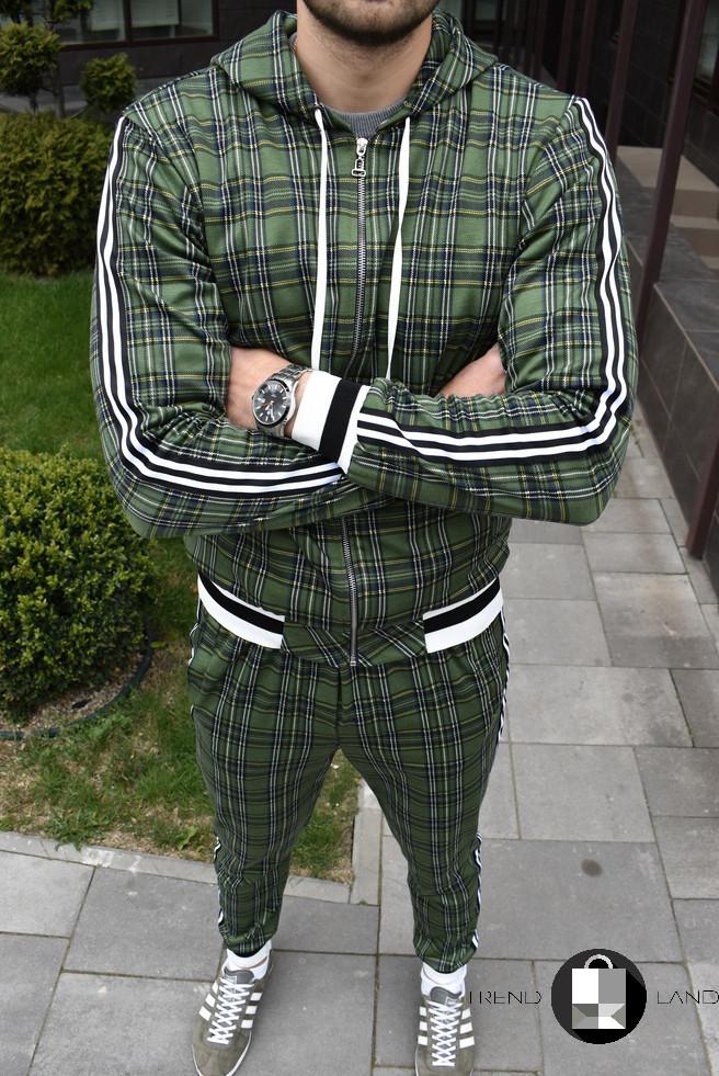Мужской спортивный костюм в клетку с капюшоном+штаны Scot Green Зеленый