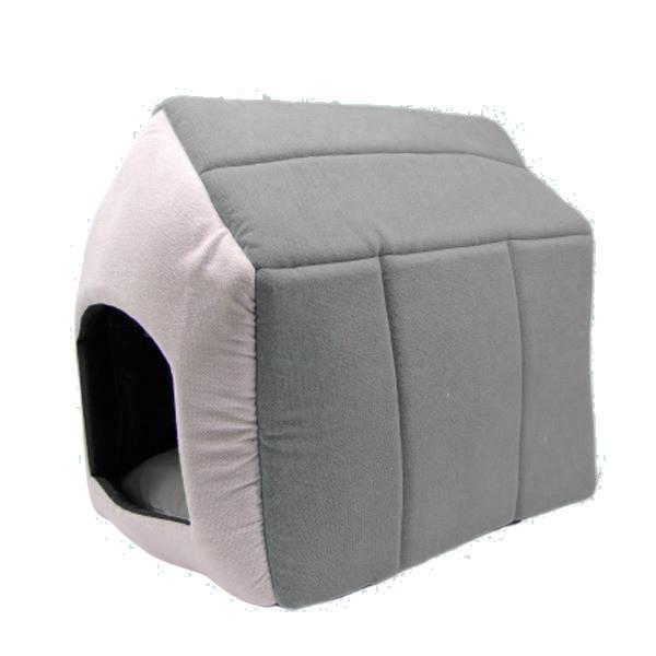 Будка-домик для собак, антикоготь, серый, 32*32*35 см