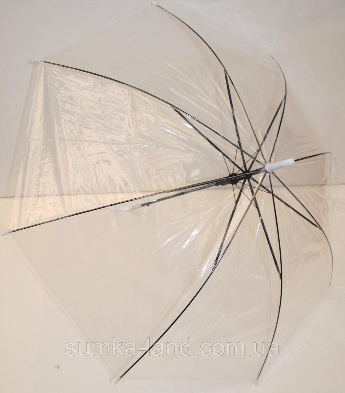 Детский белый прозрачный силиконовый зонт-трость на 8 спиц с черными спицами