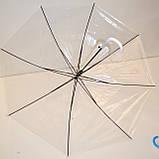 Детский белый прозрачный силиконовый зонт-трость на 8 спиц с черными спицами, фото 2