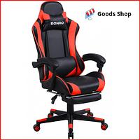 Кресло геймерское Bonro B-2013-1 игровое компьютерное офисное раскладное мягкое c подставкой для ног красное