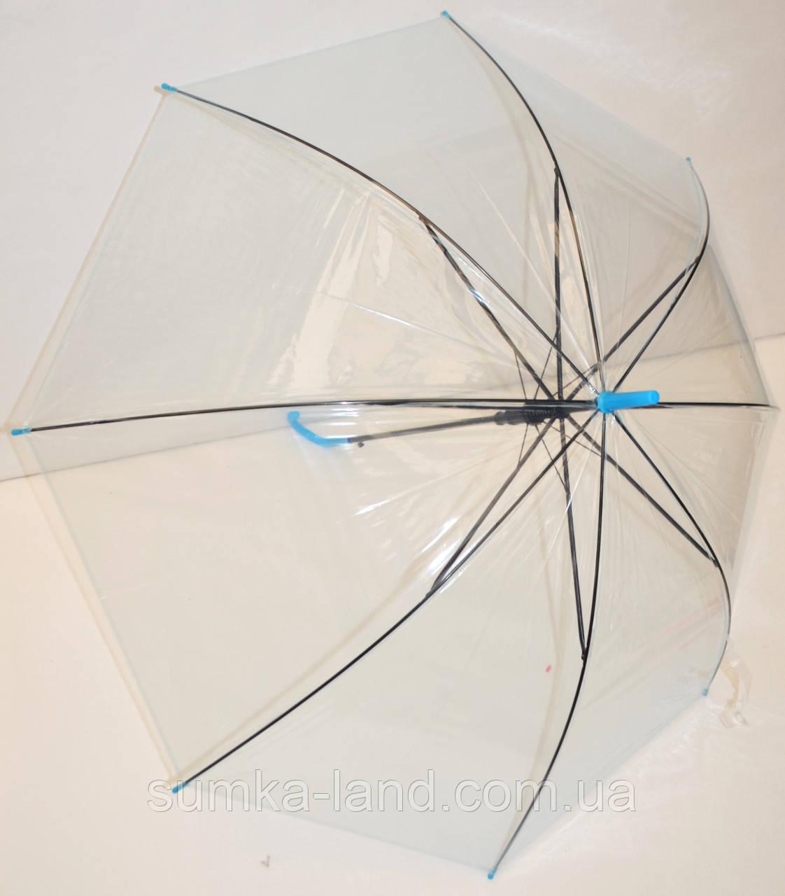 Детский голубой прозрачный силиконовый зонт-трость на 8 спиц с черными спицами