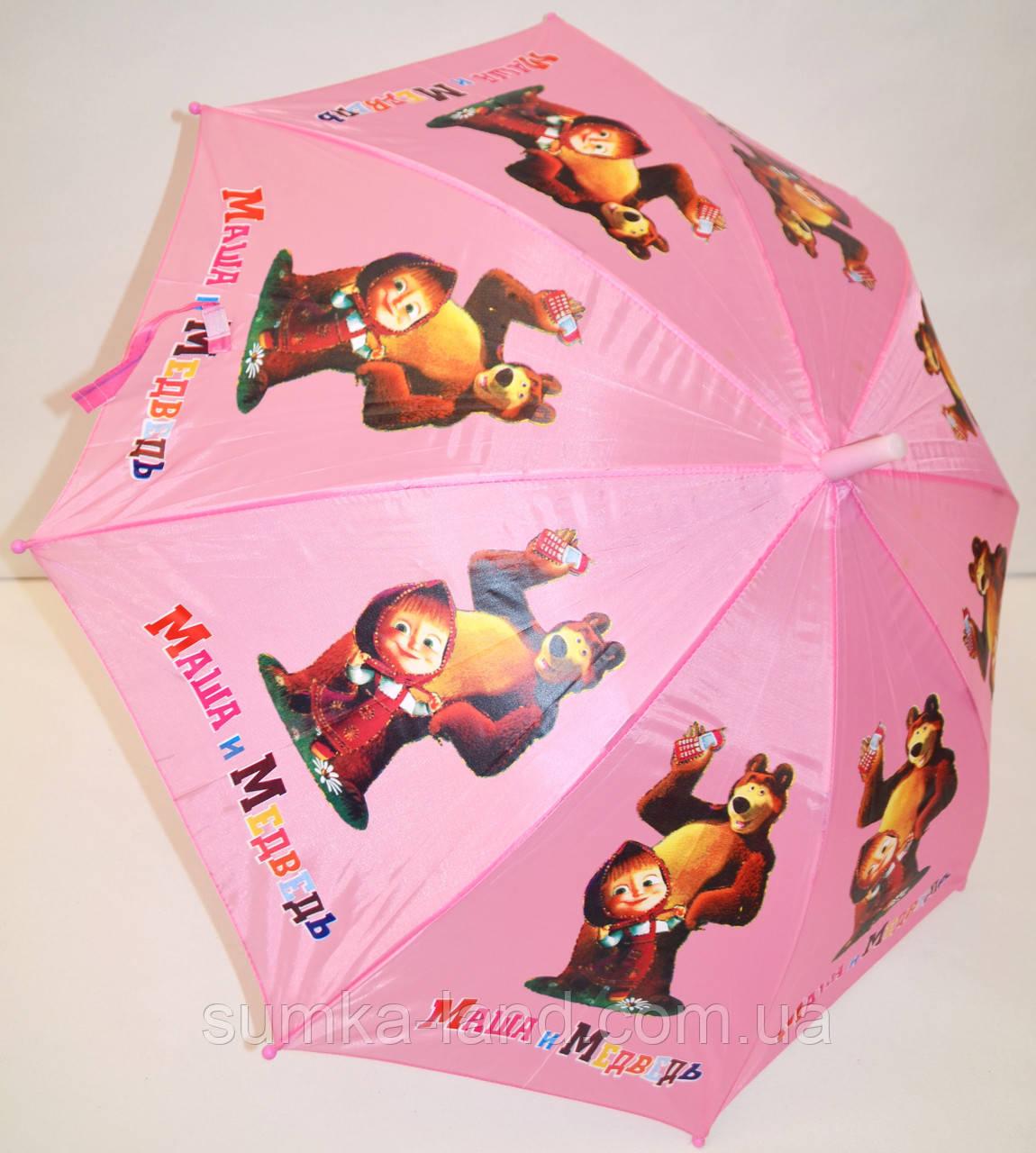 Детский розовый зонт-трость Маша и Медведь со свистком на 8 спиц