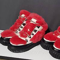 Черевики хутряні червоні