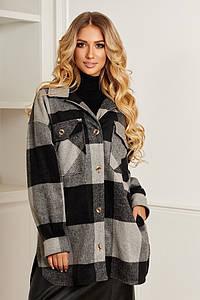 Р. 42-50 Женская удлиненная кашемировая рубашка-пальто в клетку