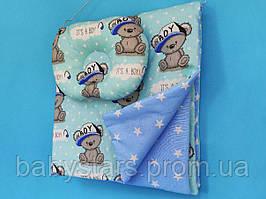 "Комплект в коляску ""Мишки на голубом"": подушка и одеяло 80х75 см"