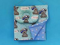 """Плед хлопковый + подушка для новорожденного, """"Мишки на голубом"""""""
