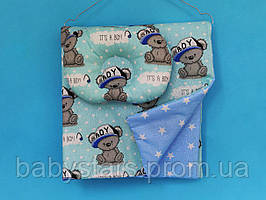 """Плед бавовняний + подушка для новонародженого, """"Ведмедики на блакитному"""""""