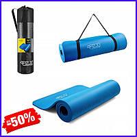 Спортивный коврик йога мат 4FIZJO Nbr 1 см Blue для фитнеса, йоги, аэробики гимнастический каучуковый