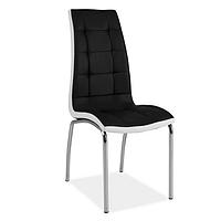 Черно стул из экокожи с белой вставкой Signal H-104 ножки хром для кухни в стиле модерн