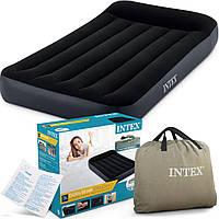 Односпальный надувной матрас кровать Intex 64146 Dura-Beam Standart насос 220V