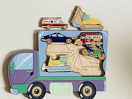 Дерев'яний сортер Intellect Wood Машинки 27*19 рамка вкладиш іграшка для хлопчиків