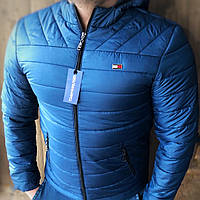 Мужская куртка в стиле Томми Хилфигер осень Турция Синий электрик