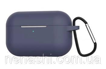 Чехол силиконовый для беспроводных наушников Apple AirPods Pro c карабином, Черный