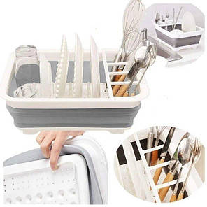Сушилка-поддон для посуды складная силиконовая, фото 2
