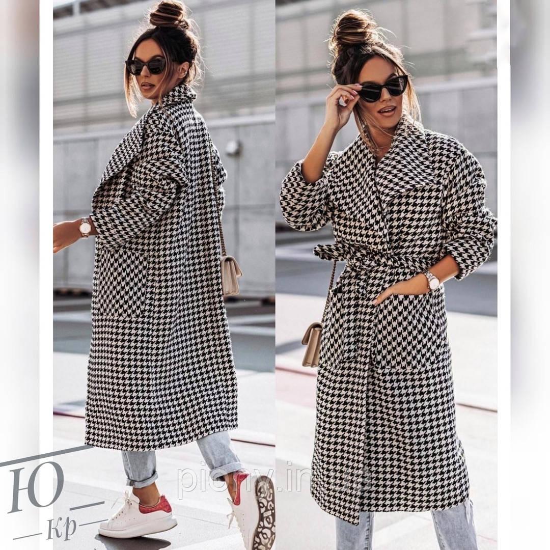 Женское Пальто из кашемира принт Батал
