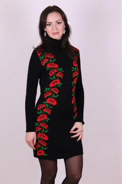 Женское платье машинная вязка - Маки