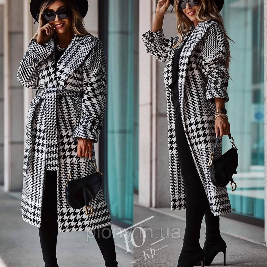 Женское Пальто с поясом принт
