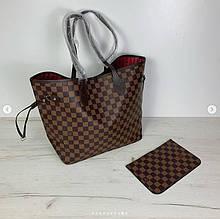 Сумка реплика Louis Vuitton Neverfull   луи витон неверфул с косметичкой   ручки Эко-кожа (0209) Коричневый