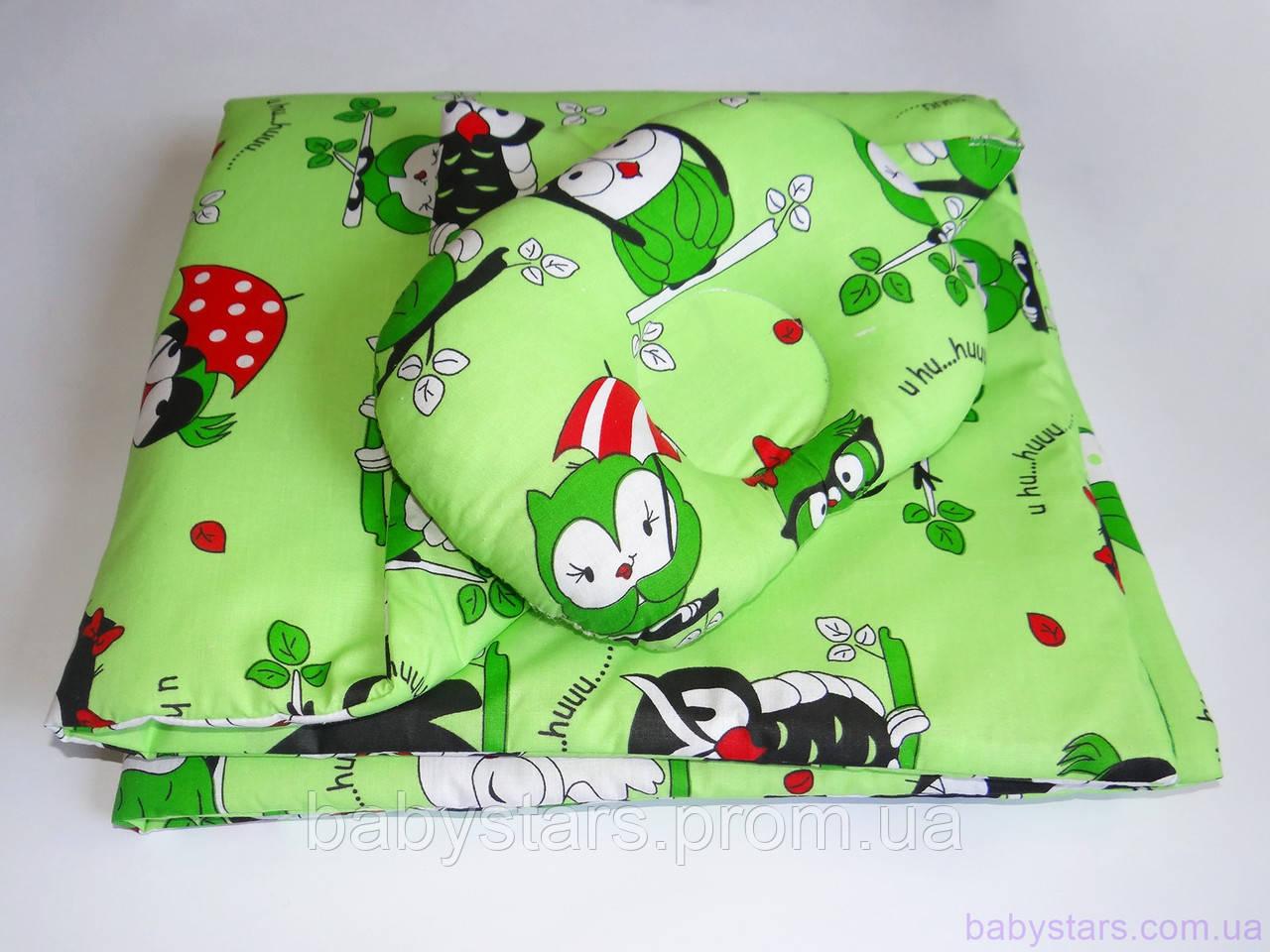 """Одеяло для новорожденных с подушкой """"Совушки на зеленом"""""""