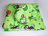"""Одеяло для новорожденных с подушкой """"Совушки на зеленом"""", фото 1"""