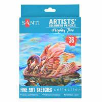 Карандаши цветные Santi Highly Pro 36 шт (742393)