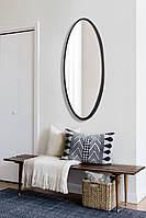 Овальное ростовое зеркало, черное 1300х600 мм, фото 1