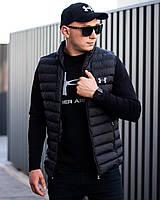 Мужской жилет черный стеганный Турция Under Armour / Мужские жилетки стеганные S M L XL XXL
