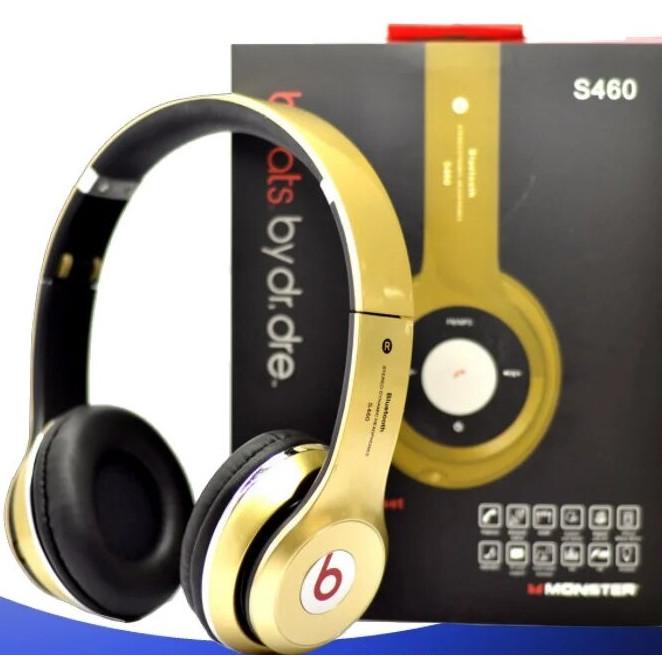 Наушники беспроводные Monster Beats HD S460 Bluetooth (MP3, FM, Aux, Mic) Золотые
