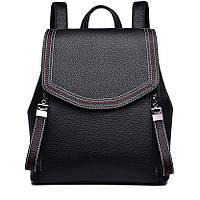 Женский кожаный рюкзак городской. Модный рюкзак женский сумка рюкзак трансформер (черный)