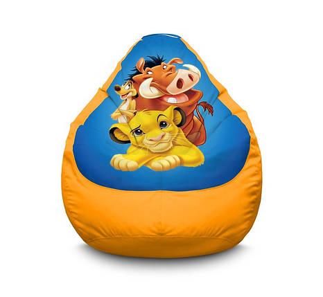 """Кресло мешок """"Lion King. Simba. Timon and Pumbaa. Blue"""" Оксфорд, фото 2"""