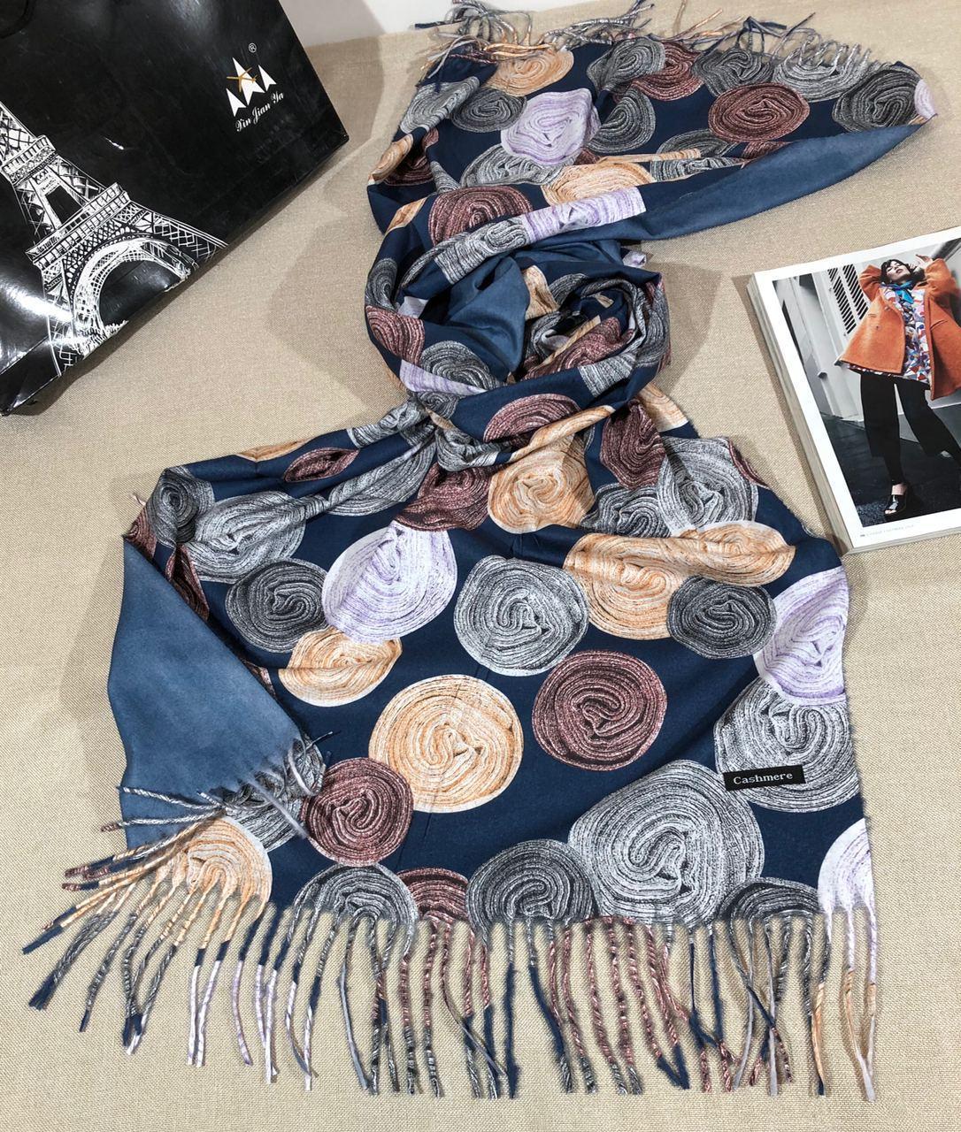 Кашемировый теплый шарф палантин  Cashmere 107021 Синий