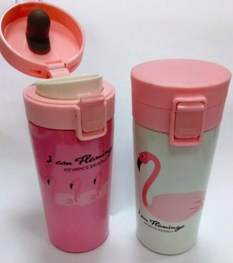 Термокружка с крышкой Розовый Фламинго 380 мл