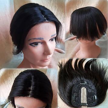 "Накладка из натуральных волос на макушку, моно-система MIDIQ-G 6""-1B"