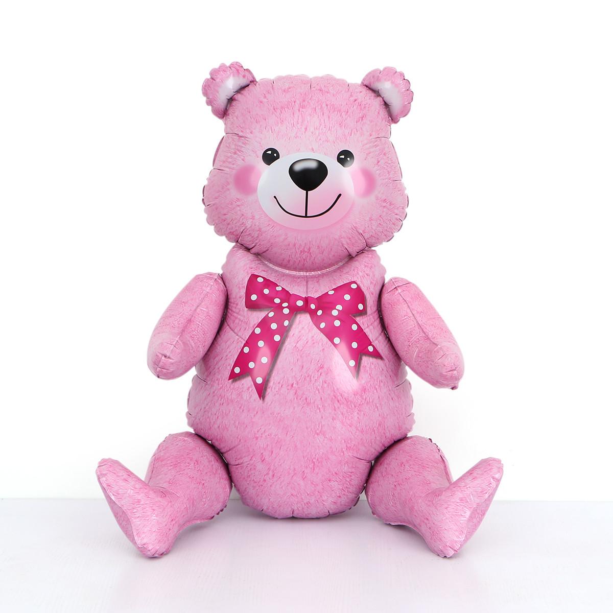 """Шар-ходячка """"Медвежонок розовый""""   Размер:44см*81.5см."""