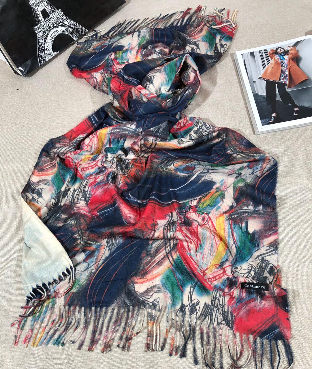 Кашемировый теплый шарф палантин  Cashmere 107026 Бежевый
