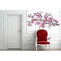 Интерьерная виниловая наклейка на стену Red Sakura 96х50 см Коричневая
