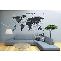 Дизайнерская наклейка стикер на стену, плитку, обои, мебель Red World 96х55 см Черная