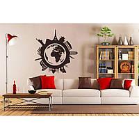 Дизайнерская наклейка стикер на стену, плитку, обои, мебель Red Around the world 50х55 см Коричневая