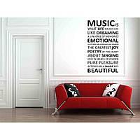 Дизайнерская наклейка стикер на стену, плитку, обои, мебель Red Music is 55х96 см Черная