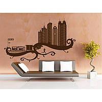 Дизайнерская наклейка стикер на стену, плитку, обои, мебель Red City 2 96х60 см Коричневая