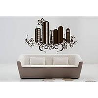Дизайнерская наклейка стикер на стену, плитку, обои, мебель Red Brooklyn 96х65 см Коричневая