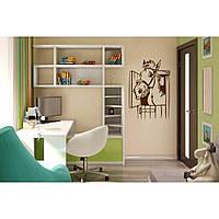 Красивая наклейка в интерьер кухни, прихожей, зала Red Lucky 65х96 см Коричневая
