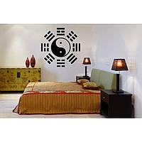Красивая наклейка в интерьер кухни, прихожей, зала Red Yin Yang 1 50х50 см Черная