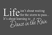 Красивая наклейка в интерьер кухни, прихожей, зала Red Dance in the rain 96х40 см Белая