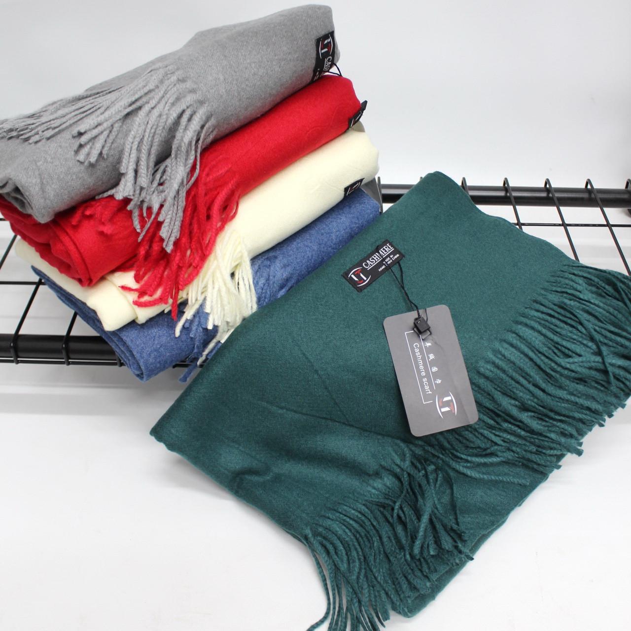 Кашемировый однотонный изумрудный шарф палантин Cashmere 104019