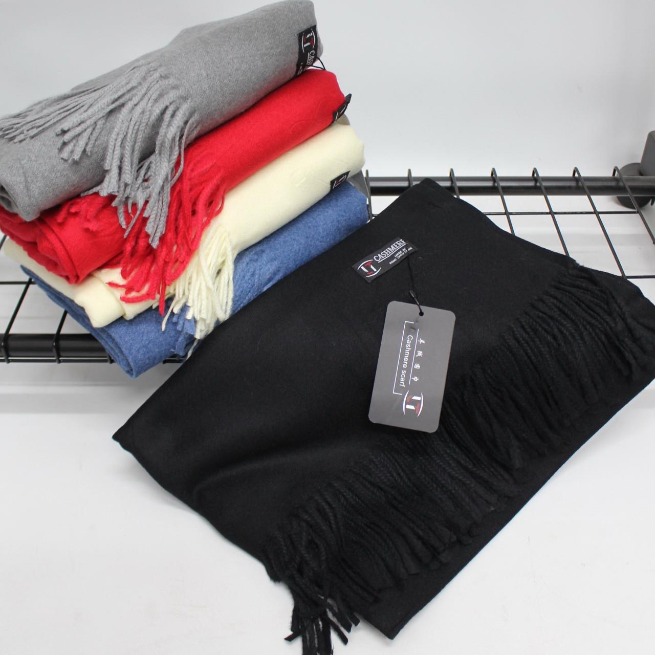 Кашемировый однотонный черный шарф палантин Cashmere 104017
