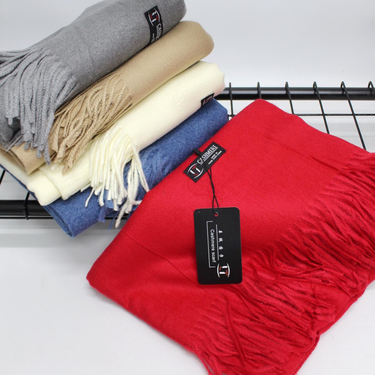 Кашемировый однотонный красный шарф палантин Cashmere 104014