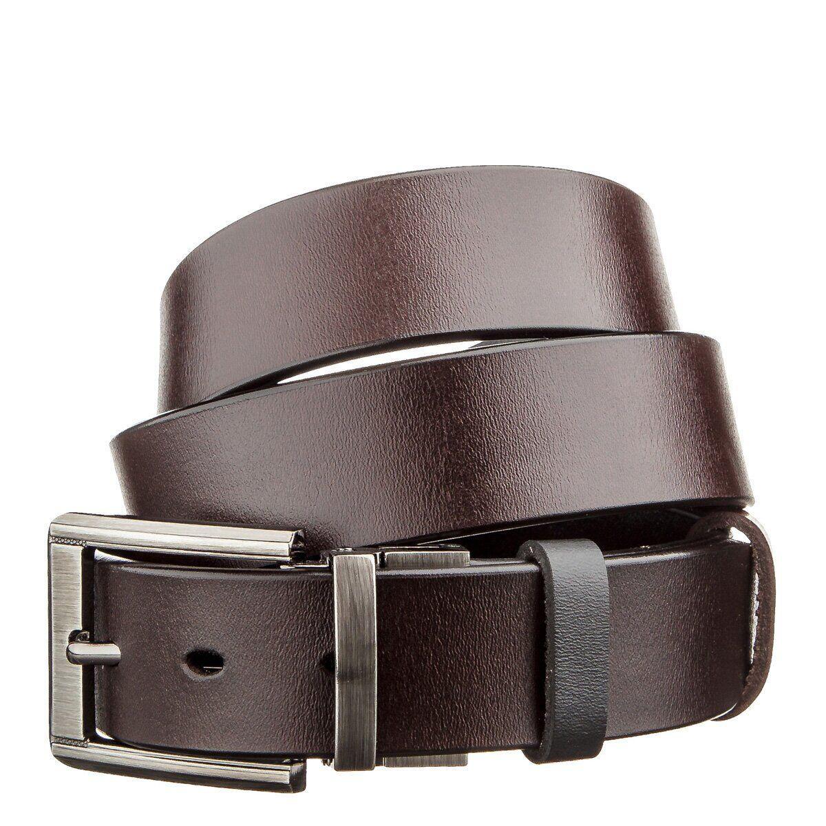 Двухцветный мужской кожаный ремень Vintage 20225 Черный