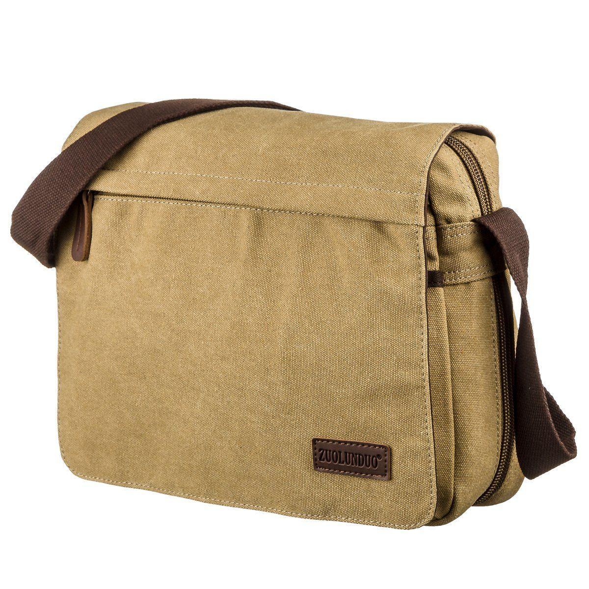 Текстильная сумка для ноутбука 13 дюймов через плечо Vintage 20188 Хаки
